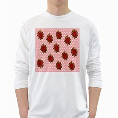 Pink Polka Dot Background With Red Roses White Long Sleeve T Shirts