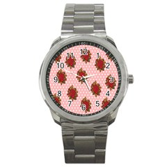 Pink Polka Dot Background With Red Roses Sport Metal Watch