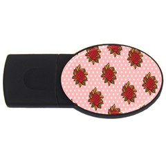 Pink Polka Dot Background With Red Roses Usb Flash Drive Oval (4 Gb)