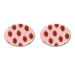 Pink Polka Dot Background With Red Roses Cufflinks (Oval)