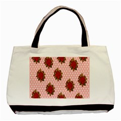 Pink Polka Dot Background With Red Roses Basic Tote Bag