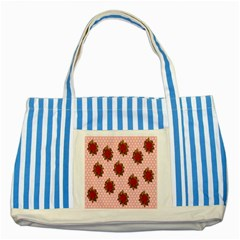 Pink Polka Dot Background With Red Roses Striped Blue Tote Bag