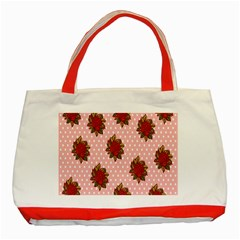 Pink Polka Dot Background With Red Roses Classic Tote Bag (red)