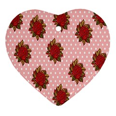Pink Polka Dot Background With Red Roses Heart Ornament (Two Sides)
