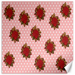 Pink Polka Dot Background With Red Roses Canvas 12  x 12