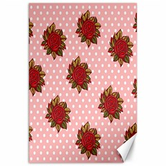 Pink Polka Dot Background With Red Roses Canvas 20  x 30