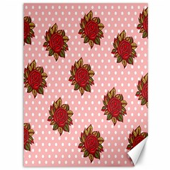 Pink Polka Dot Background With Red Roses Canvas 36  x 48