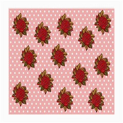 Pink Polka Dot Background With Red Roses Medium Glasses Cloth
