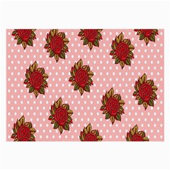 Pink Polka Dot Background With Red Roses Large Glasses Cloth