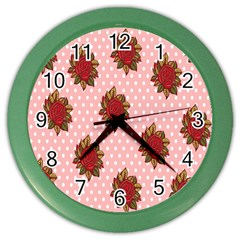 Pink Polka Dot Background With Red Roses Color Wall Clocks