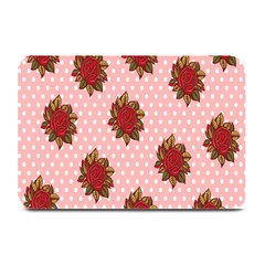 Pink Polka Dot Background With Red Roses Plate Mats