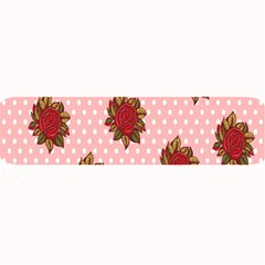 Pink Polka Dot Background With Red Roses Large Bar Mats
