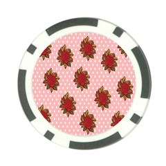 Pink Polka Dot Background With Red Roses Poker Chip Card Guard