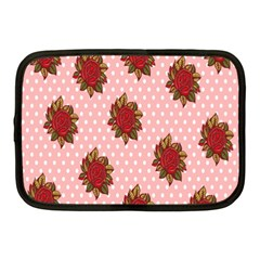 Pink Polka Dot Background With Red Roses Netbook Case (Medium)