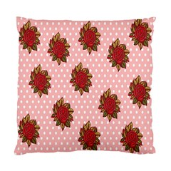 Pink Polka Dot Background With Red Roses Standard Cushion Case (One Side)