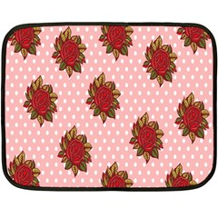 Pink Polka Dot Background With Red Roses Double Sided Fleece Blanket (Mini)