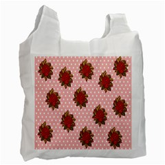 Pink Polka Dot Background With Red Roses Recycle Bag (one Side)