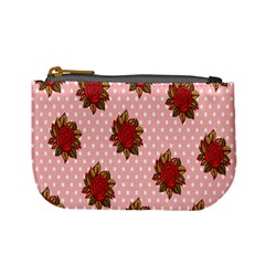 Pink Polka Dot Background With Red Roses Mini Coin Purses