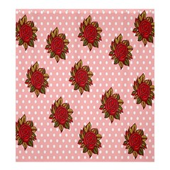 Pink Polka Dot Background With Red Roses Shower Curtain 66  x 72  (Large)