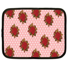 Pink Polka Dot Background With Red Roses Netbook Case (xl)
