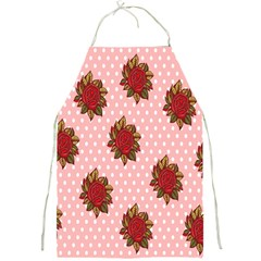 Pink Polka Dot Background With Red Roses Full Print Aprons