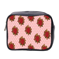 Pink Polka Dot Background With Red Roses Mini Toiletries Bag 2-Side