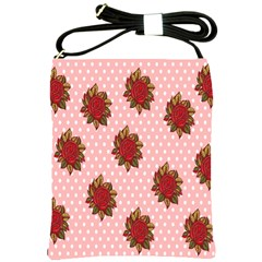 Pink Polka Dot Background With Red Roses Shoulder Sling Bags