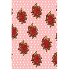 Pink Polka Dot Background With Red Roses 5.5  x 8.5  Notebooks