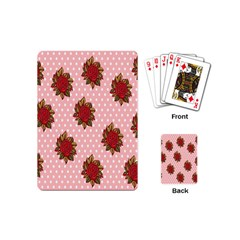 Pink Polka Dot Background With Red Roses Playing Cards (Mini)