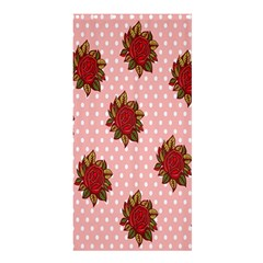 Pink Polka Dot Background With Red Roses Shower Curtain 36  x 72  (Stall)