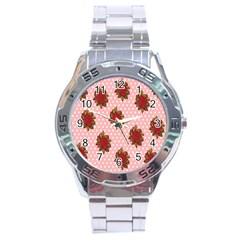 Pink Polka Dot Background With Red Roses Stainless Steel Analogue Watch