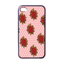 Pink Polka Dot Background With Red Roses Apple Iphone 4 Case (black)