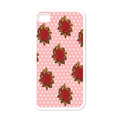 Pink Polka Dot Background With Red Roses Apple iPhone 4 Case (White)