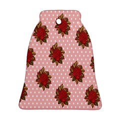 Pink Polka Dot Background With Red Roses Ornament (Bell)