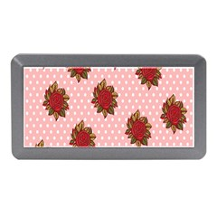 Pink Polka Dot Background With Red Roses Memory Card Reader (Mini)
