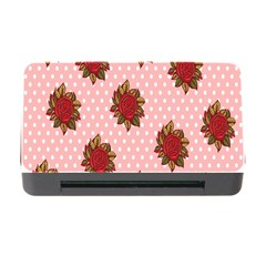 Pink Polka Dot Background With Red Roses Memory Card Reader with CF