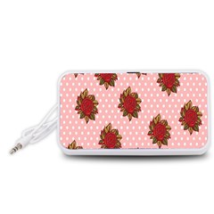 Pink Polka Dot Background With Red Roses Portable Speaker (White)