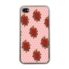 Pink Polka Dot Background With Red Roses Apple Iphone 4 Case (clear)