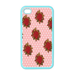 Pink Polka Dot Background With Red Roses Apple iPhone 4 Case (Color)