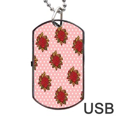 Pink Polka Dot Background With Red Roses Dog Tag USB Flash (Two Sides)