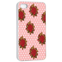 Pink Polka Dot Background With Red Roses Apple Iphone 4/4s Seamless Case (white)