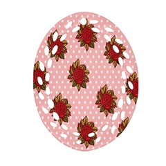 Pink Polka Dot Background With Red Roses Ornament (oval Filigree)