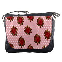 Pink Polka Dot Background With Red Roses Messenger Bags