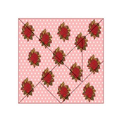 Pink Polka Dot Background With Red Roses Acrylic Tangram Puzzle (4  X 4 )