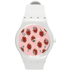 Pink Polka Dot Background With Red Roses Round Plastic Sport Watch (M)