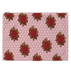 Pink Polka Dot Background With Red Roses Cosmetic Bag (xxl)
