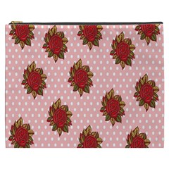 Pink Polka Dot Background With Red Roses Cosmetic Bag (xxxl)