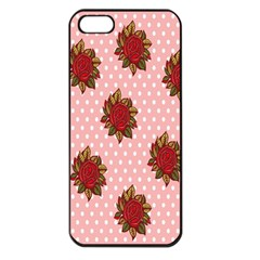 Pink Polka Dot Background With Red Roses Apple iPhone 5 Seamless Case (Black)