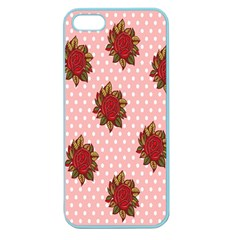Pink Polka Dot Background With Red Roses Apple Seamless Iphone 5 Case (color)