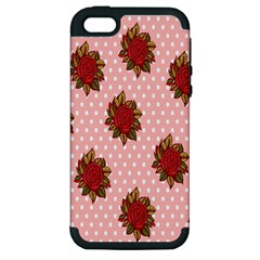 Pink Polka Dot Background With Red Roses Apple iPhone 5 Hardshell Case (PC+Silicone)
